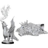 D&D fígurur Gold Dragon Wyrmling & Small Treasure Pile